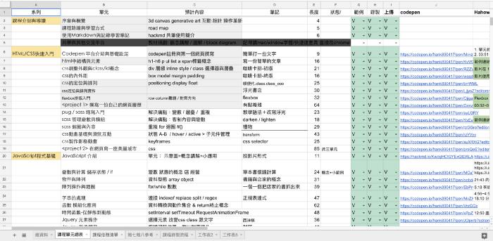 跟Hahow檢核用的單元製作表格